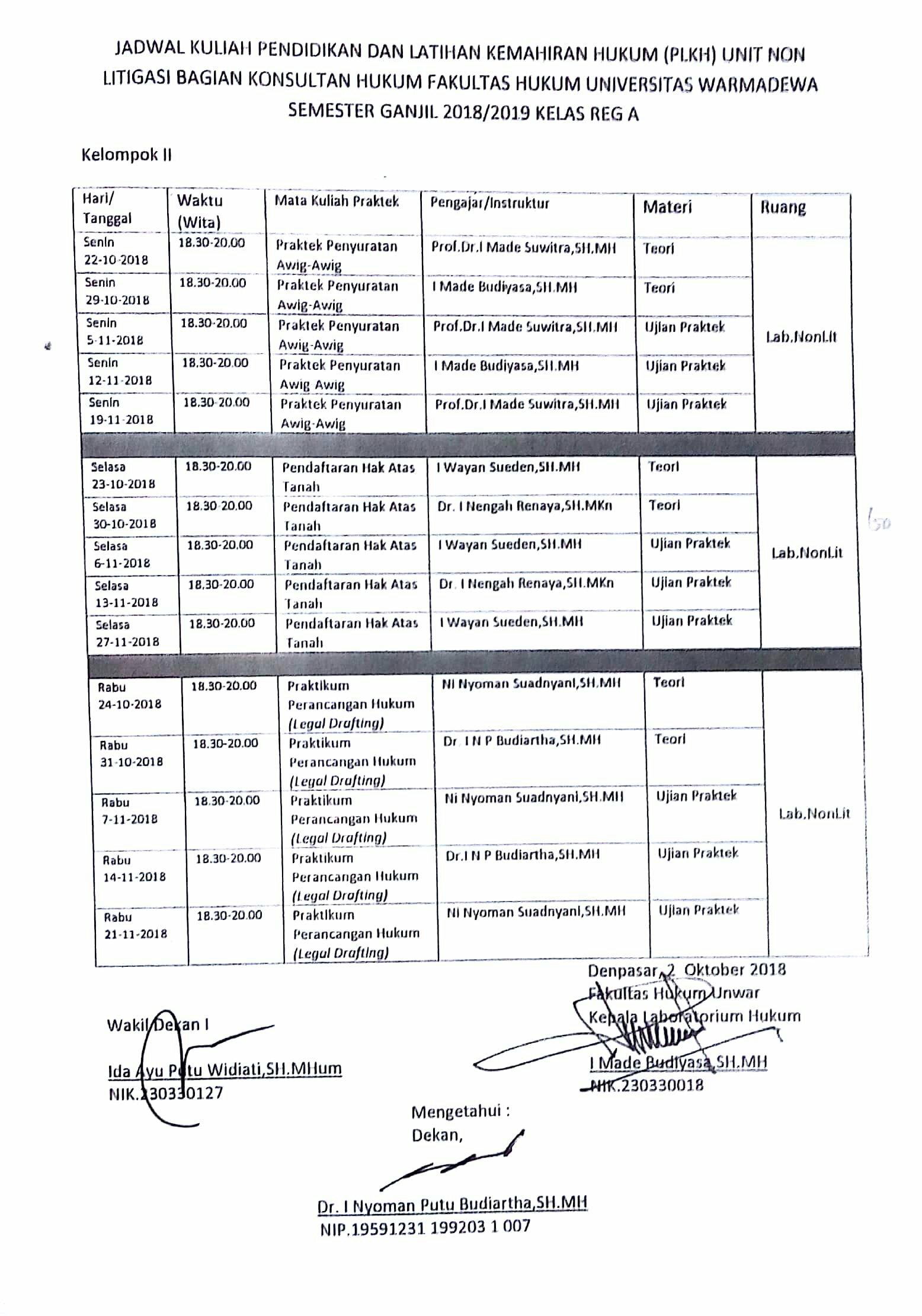Jadwal Kuliah Pendidikan dan Latihan Kemahiran Hukum (PLKH) Unit Non Litigasi Bagian Konsultan Hukum Fakultas Hukum Universitas Warmadewa Semester Ganjil 2018/2019 Kelas Reg A