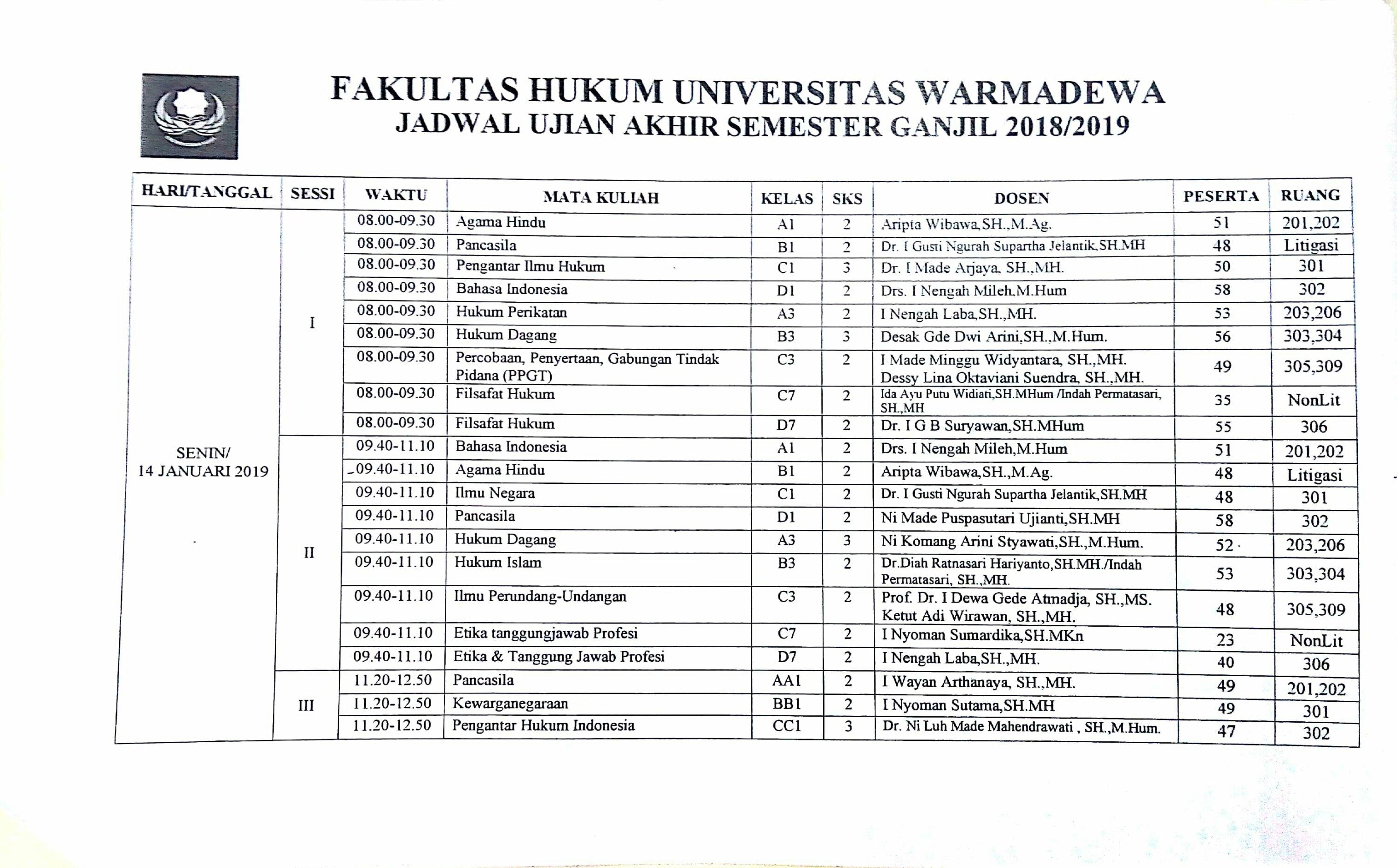 Jadwal Ujian Semester Ganjil 2018/2019 Fakultas Hukum Universitas Warmadewa