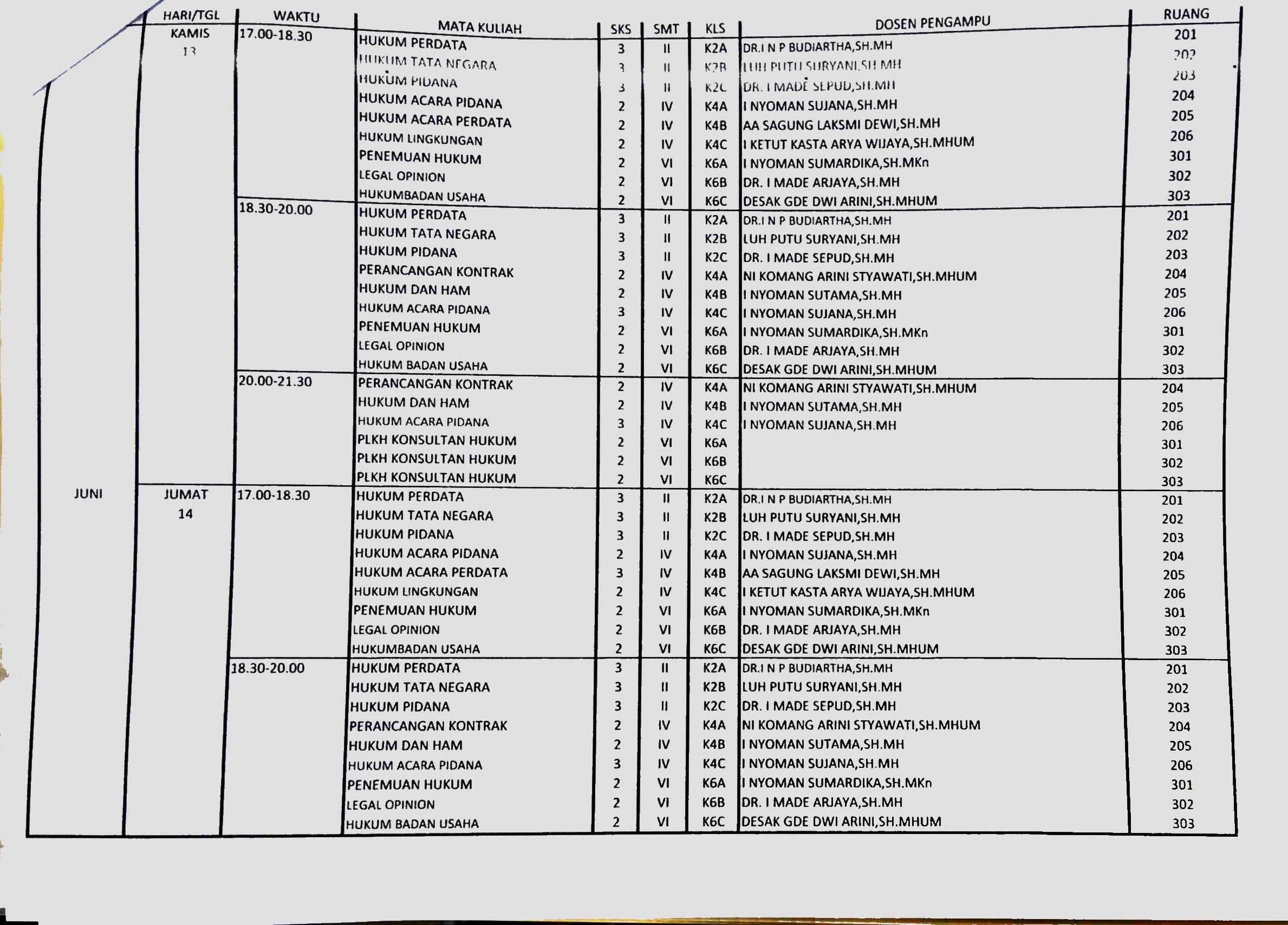Jadwal Reguler B (Revisi)