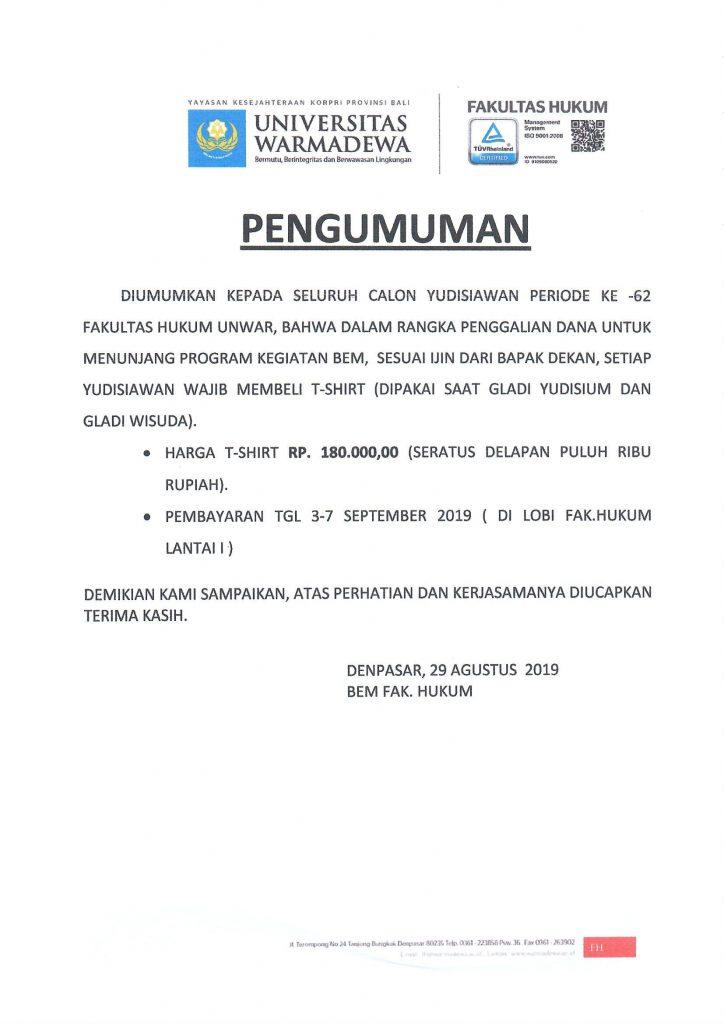Pengumuman Penjualan T-Shirt Dalam Rangka Gladi Yudisium dan Gladi Wisuda