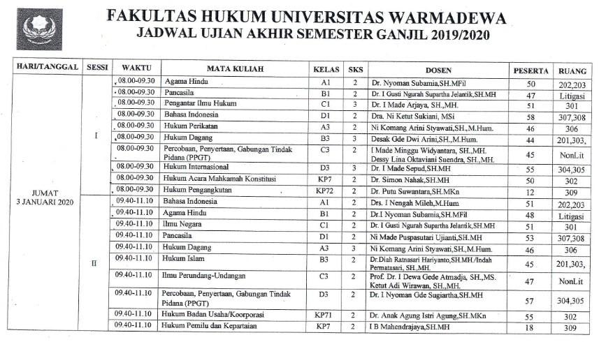 Jadwal UAS Ganjil 2019/2020