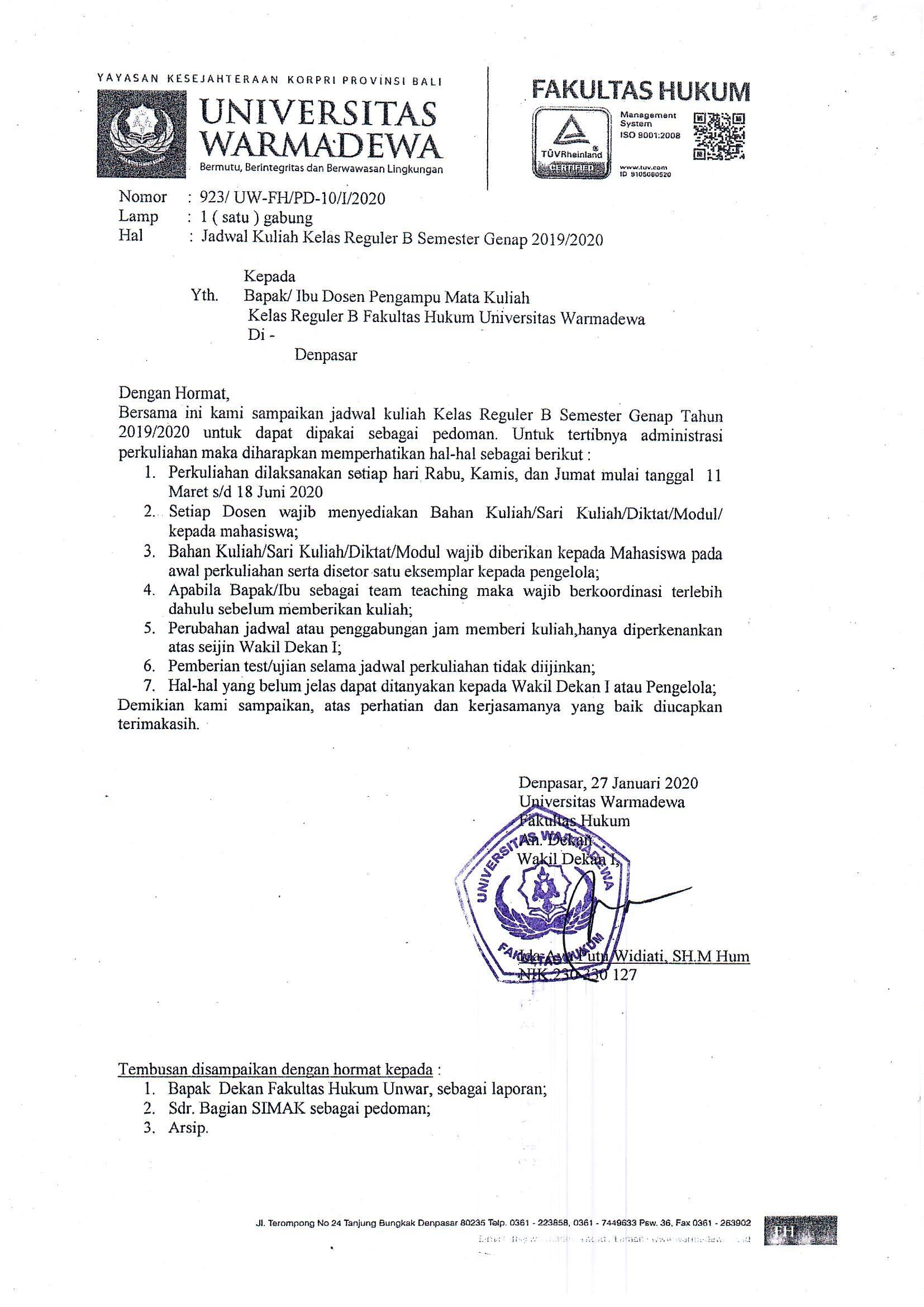 Jadwal Kuliah Reguler B Fakultas Hukum Universitas Warmadewa Tahun 2019/2020