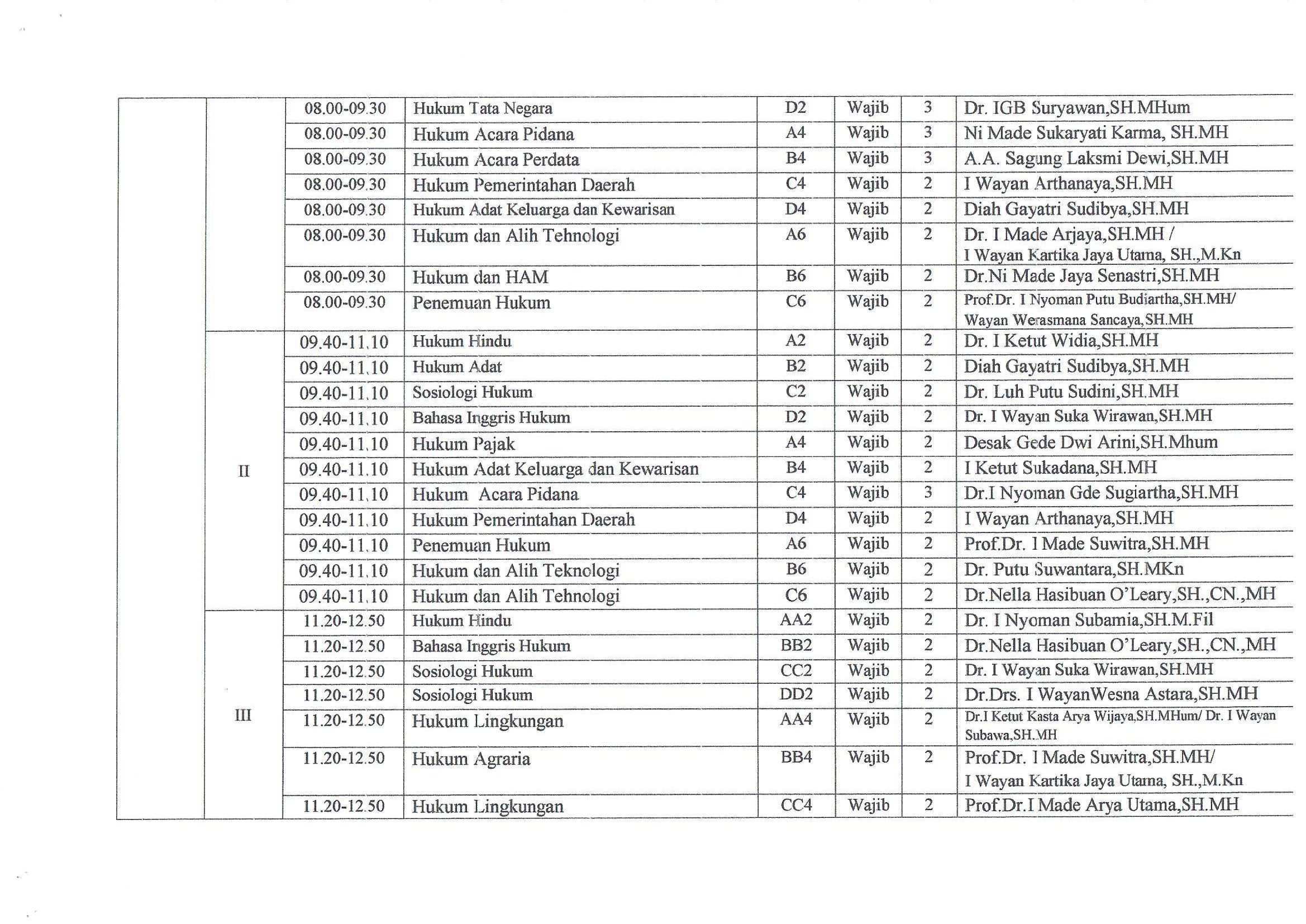 Jadwal Kuliah Reguler A Fakultas Hukum Universitas Warmadewa Tahun 2019/2020