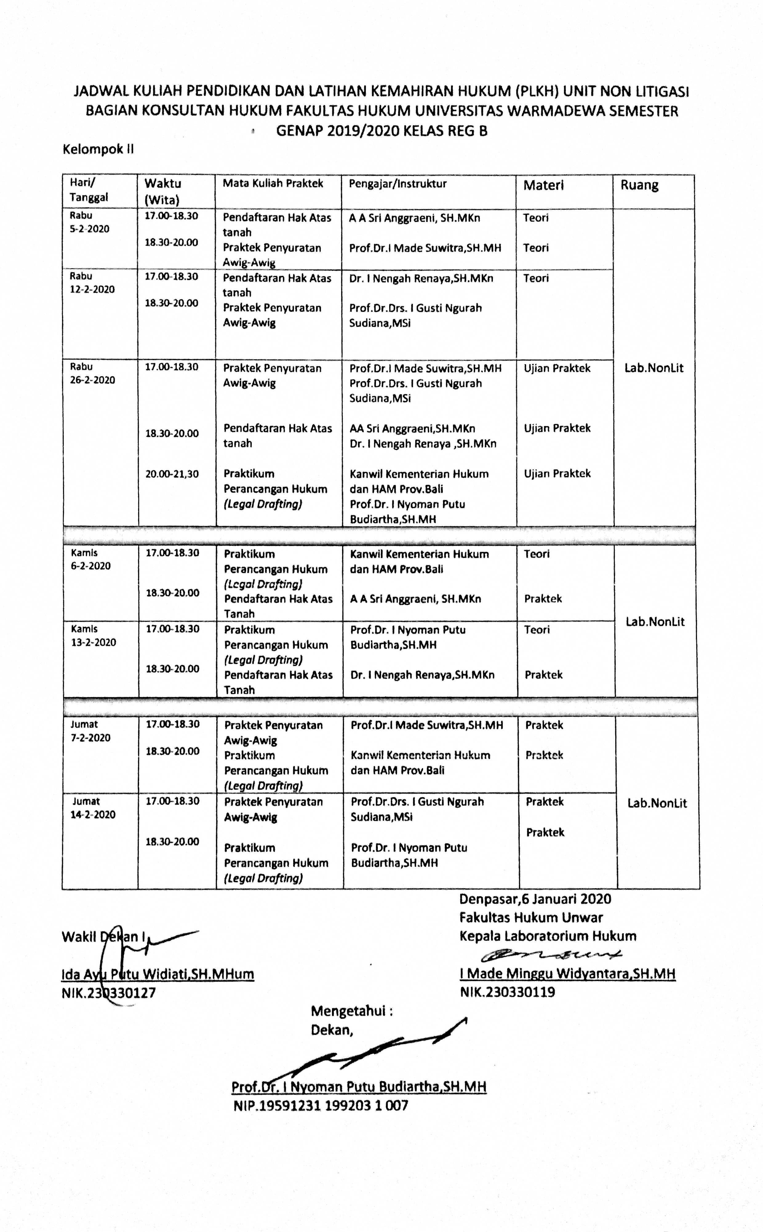 Jadwal Kuliah Pendidikan dan Kemahiran Hukum (PLKH) Unit Non Litigasi Bagian Konsultan Hukum Fakultas Hukum Universitas Warmadewa Semester Genap 2019/2020 Kelas Reguler B