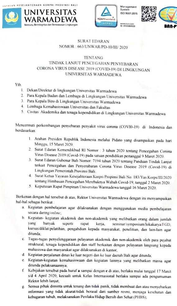 Tindak lanjut pencegahan penyebaran corona virus disease - 19 di lingkungan Universitas Warmadewa