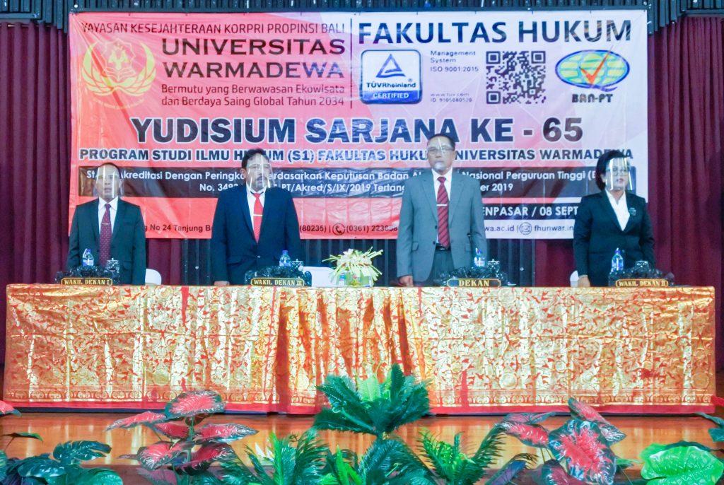 Fakultas Hukum Universitas Warmadewa menggelar acara Yudisium Sarjana ke LXV (65) Program studi Ilmu Hukum periode September