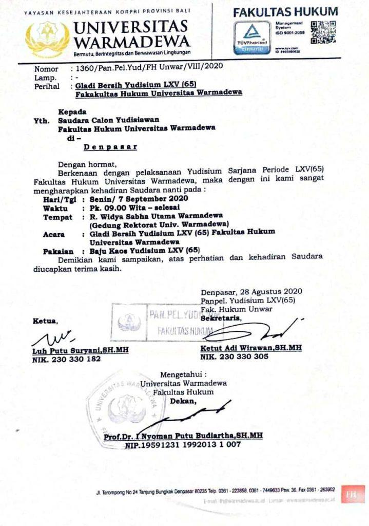 Jadwal Gladi Bersih Yudisium Ke LXV(65) FH Unwar